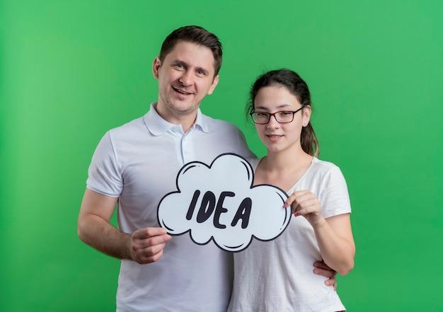 Jovem casal, homem e mulher, juntos, sorrindo, felizes e positivos, segurando um cartaz de bolha do discurso com a ideia da palavra sobre a parede verde