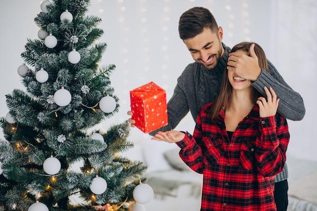 Jovem casal junto à árvore de natal em casa