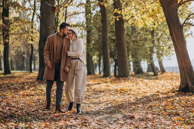 Jovem casal junto em um parque de outono