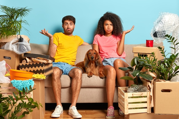 Jovem casal no sofá com cachorro rodeado de caixas de papelão