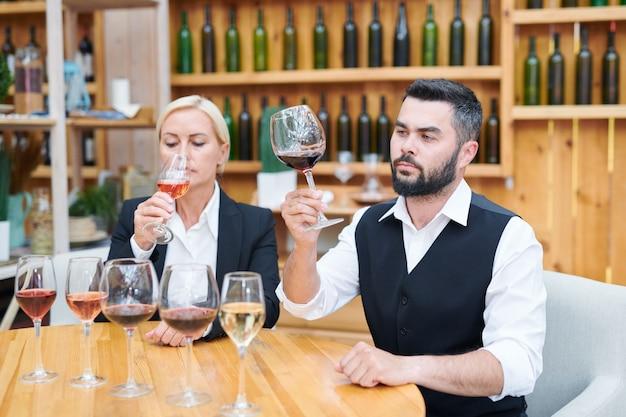 Jovem cavaleiro sério e seu colega verificando o cheiro e o sabor de vários novos tipos de vinho na adega
