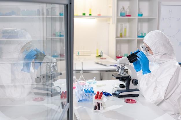 Jovem cientista ou pesquisador contemporâneo em macacões de proteção, máscara e luvas olhando no microscópio enquanto estuda um novo vírus