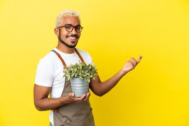 Jovem colombiano segurando uma planta isolada em um fundo amarelo, estendendo as mãos para o lado para convidá-lo a vir