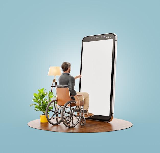 Jovem com deficiência está sentado em uma cadeira de rodas em frente ao smartphone com tela em branco e usando o aplicativo do telefone inteligente.