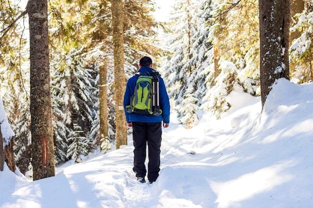 Jovem com mochila caminhando na floresta de inverno