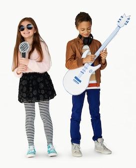 Jovem, crianças, músico, cantor, guitarrista