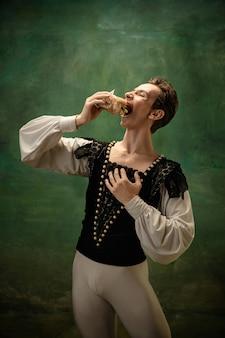 Jovem dançarina de balé como personagem de contos de fadas modernos dos brancos da neve