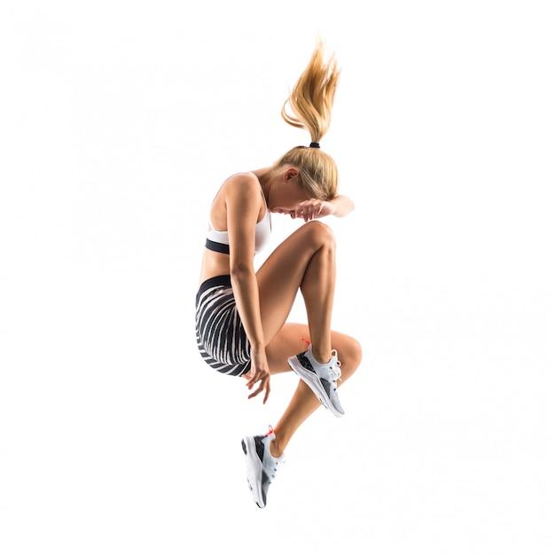 Jovem, dançarino, pular