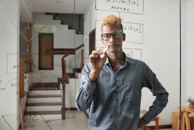 Jovem desenvolvedor de software sério desenhando fluxograma geral na parede de vidro do escritório de sua empresa