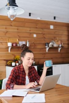 Jovem designer ou empresária de sucesso olhando para a tela do laptop enquanto procura ideias online para projetos criativos