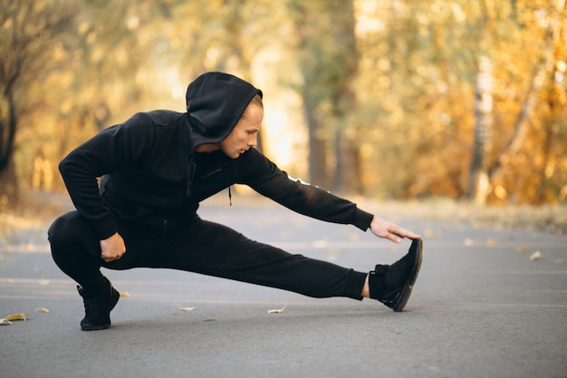 Jovem, desportista, exercitar, parque