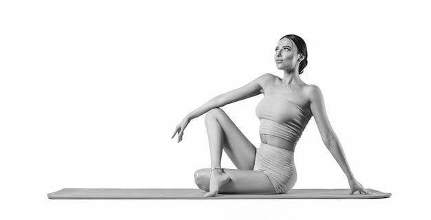 Jovem desportiva fazendo prática de ioga. isolado em um fundo branco. o conceito de estilo de vida saudável e equilíbrio natural entre o desenvolvimento corporal e mental. pilates, alongamento.