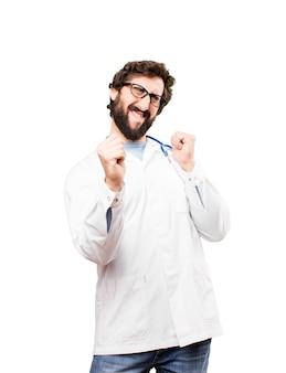 Jovem doutor dançando
