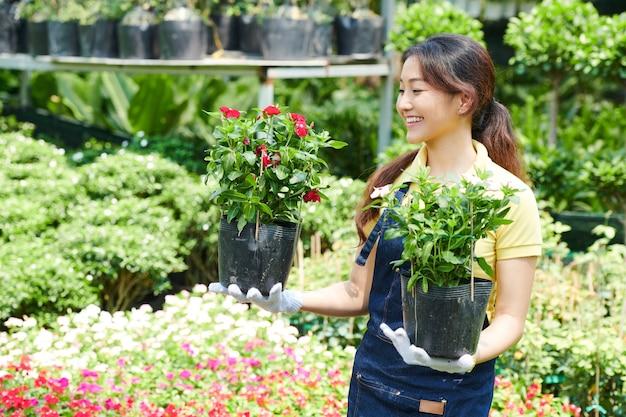 Jovem e adorável mulher sorridente segurando vasos de plantas que precisa levar ao cliente