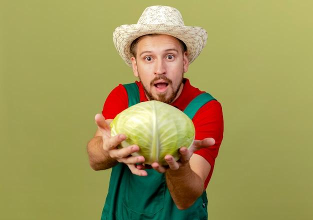 Jovem e bonito jardineiro eslavo impressionado de uniforme e chapéu estendendo o repolho e parecendo isolado