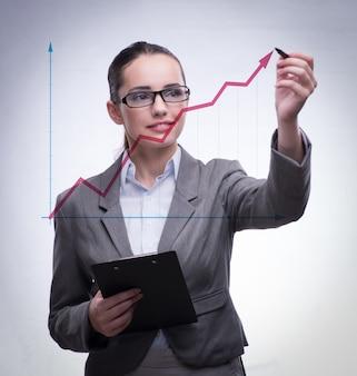 Jovem empresária com diagramas de gráfico