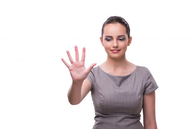 Jovem empresária pressionando o botão virtual isolado no branco
