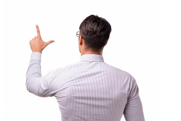 Jovem empresário bonitão pressionando botões isolado no branco