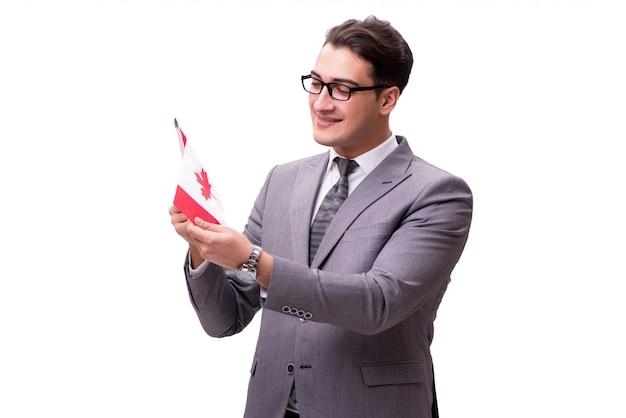 Jovem empresário com bandeira isolado no branco