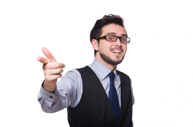 Jovem empresário isolado no branco