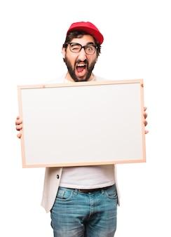 Jovem empresário louco com cartaz