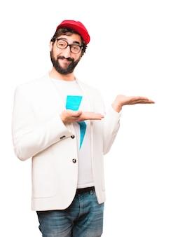 Jovem empresário louco mostrando sinal