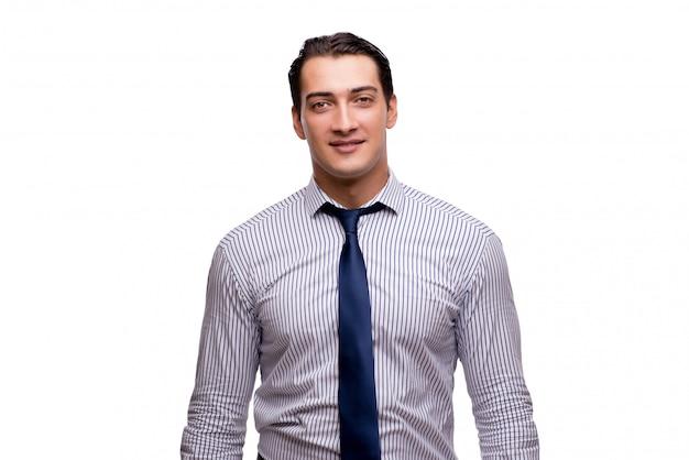 Jovem empresário no conceito de negócio isolado no branco
