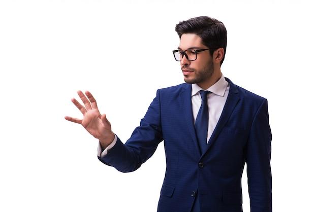 Jovem empresário pressionando botões virtuais isolados