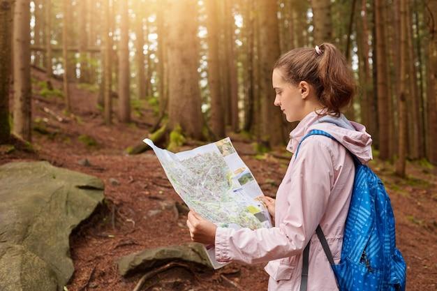 Jovem enérgica atraente segurando o mapa com as duas mãos, olhando atentamente para o mapa, se perdendo na floresta, melhorando as habilidades de orientação