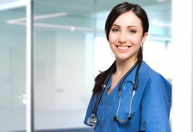 Jovem, enfermeira, retrato
