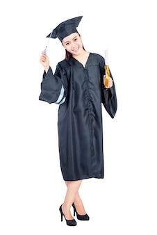 Jovem, estudante asiático, mulher, com, vestido graduação, ficar