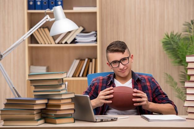 Jovem estudante preferindo jogar beisebol para estudar