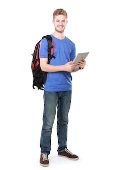 Jovem estudante usando o tablet pc