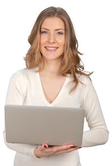 Jovem, executiva, com, laptop
