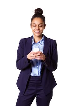 Jovem, executiva, usando, telefone pilha