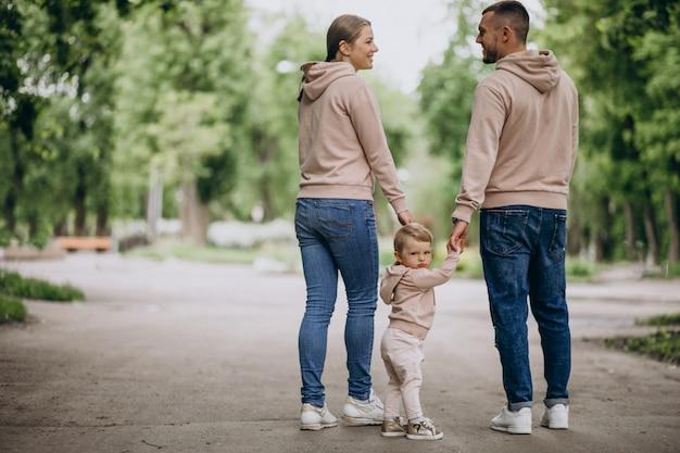 Jovem, família, com, seu, pequeno, criança bebê, parque