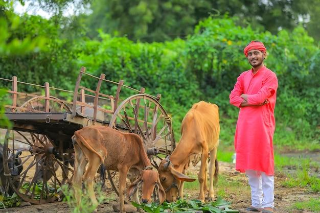 Jovem fazendeiro indiano com animal de fazenda