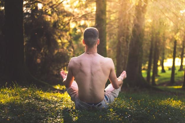 Jovem fazendo yoga na floresta
