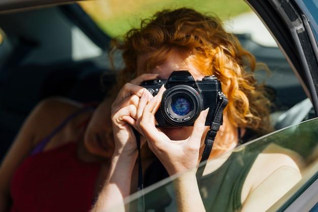 Jovem, femininas, levando, foto