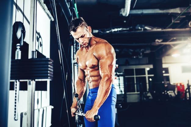 Jovem fisiculturista fazendo exercício para tríceps