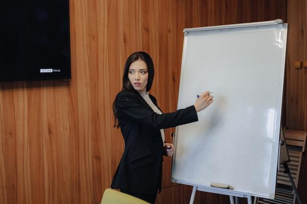 Jovem garota atraente emocional em roupas de businessstyle, trabalhando com flipchart em um escritório moderno ou audiência