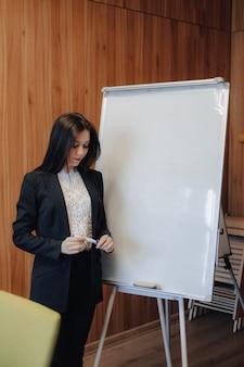 Jovem garota atraente emocional em roupas de estilo empresarial, trabalhando com flipchart em um escritório ou público moderno