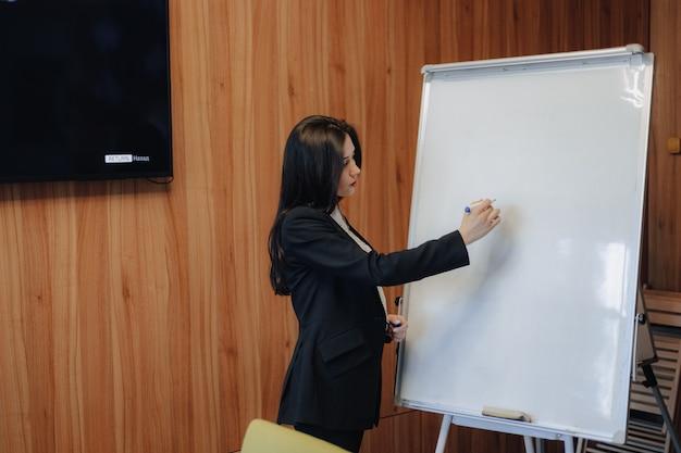 Jovem garota atraente emocional em roupas de negócios de estilo trabalhando com flipchart em um escritório moderno ou público