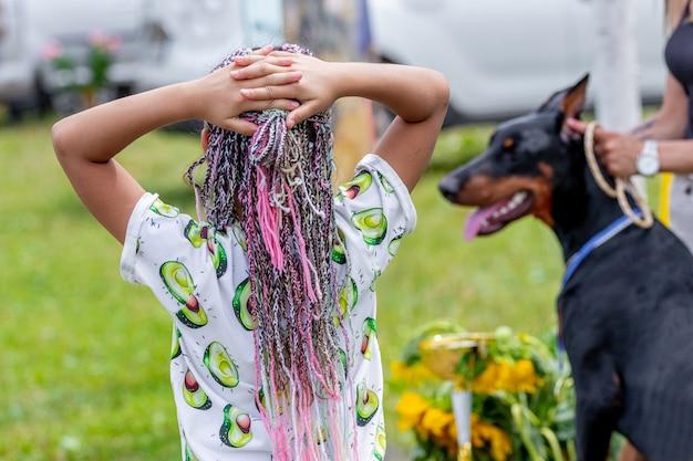 Jovem garota com um penteado elegante perto do cachorro. cabelo com fios coloridos trançados