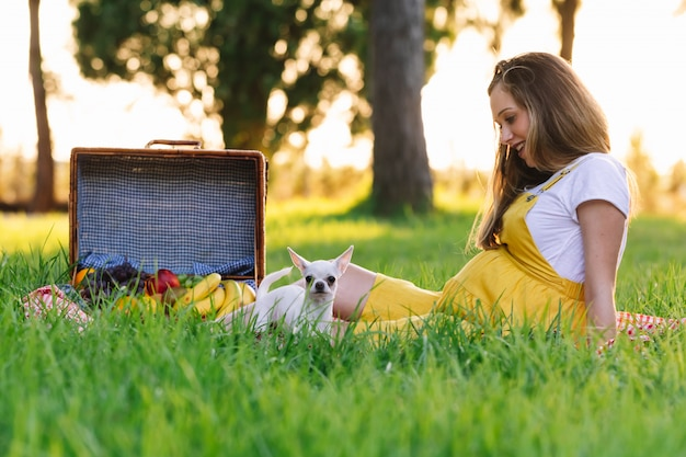Jovem grávida em um piquenique ao pôr do sol. com cachorro chihuahua