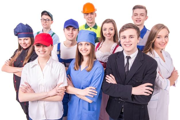 Jovem, grupo, de, trabalhadores industriais