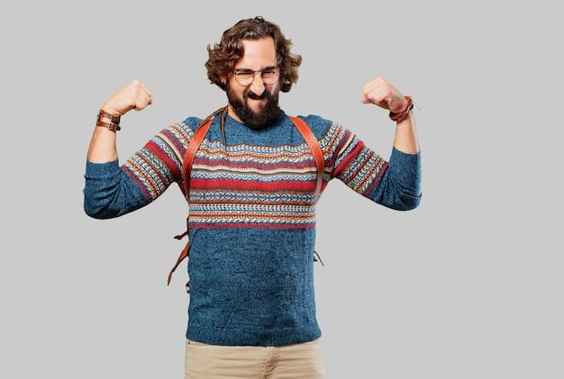 Jovem hippie homem forte pose