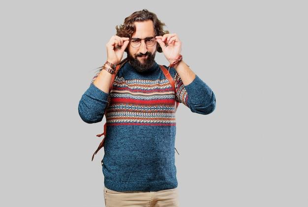 Jovem, hippie, pensando homem, concentrado