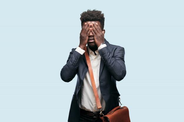 Jovem, homem americano africano, expressar, um, conceito
