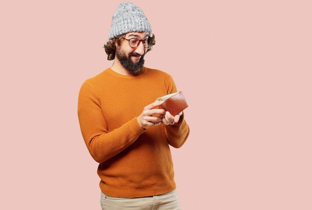 Jovem homem barbudo com uma carteira